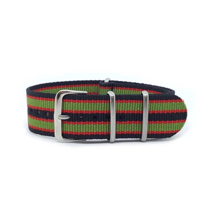 Nato Watch Strap Military G10 Nylon - Striped Black, Red & Green