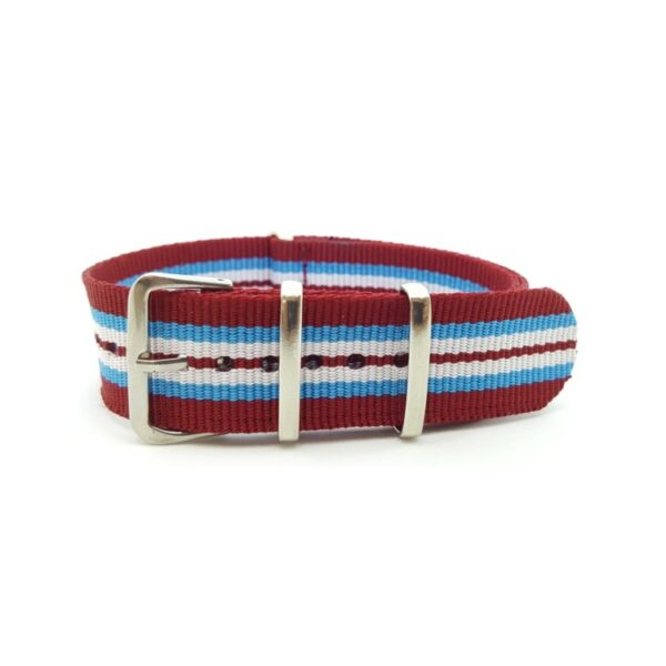 Nato Watch Strap Military G10 Nylon - Striped Baby Blue, White, Red