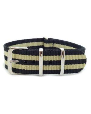 Nato Watch Strap Military G10 Nylon - Striped Black & Gold