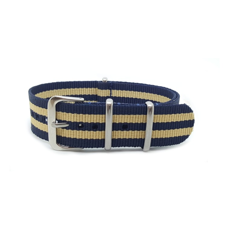 Nato Watch Strap Military G10 Nylon - Striped Navy Blue & Beige Sand
