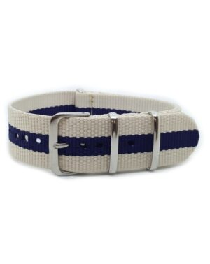 Nato Watch Strap Military G10 Nylon - Striped Navy Blue & Cream
