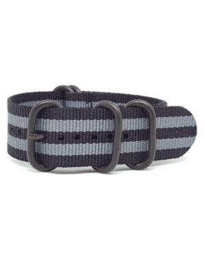 Black & Grey - Zulu Watch Strap Black Buckle