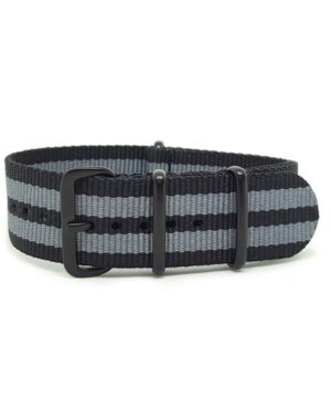 Striped Black & Grey with Black Buckle- NATO Watch Strap