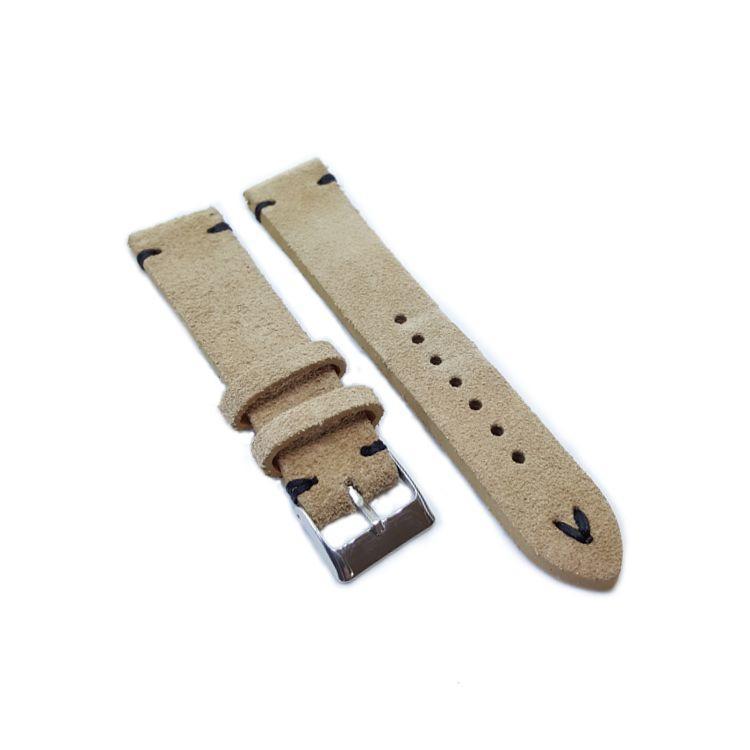 Urban Sand Suede, Black Stitch Leather Watch Strap