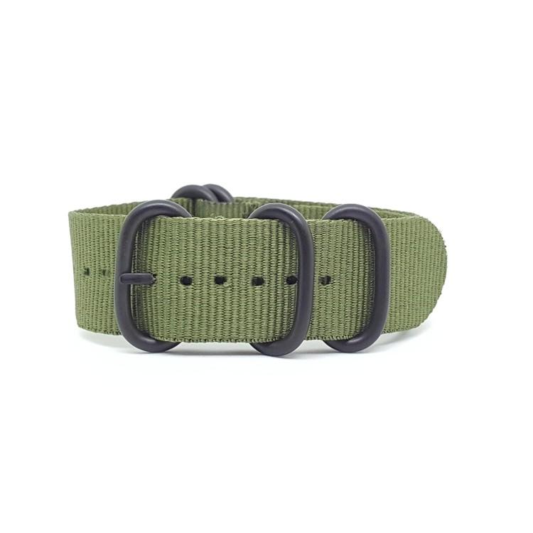 Green - Zulu Watch Strap Black Buckle