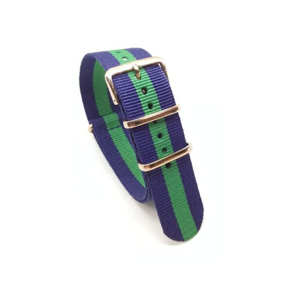 Striped Navy Blue & Green with Rose Gold - NATO Watch Strap