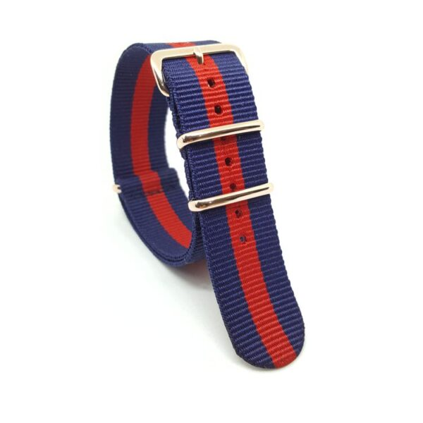 Striped Navy Blue & Red with Rose Gold - NATO Watch Strap