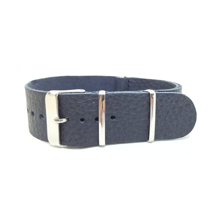 Blue - Vintage Soft Leather NATO Strap