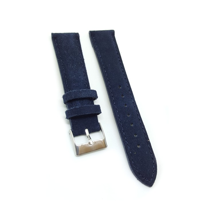 Urban Blue Padded Suede Leather Watch Strap