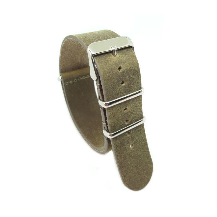 Distressed Dark Olive - Vintage Leather NATO Strap