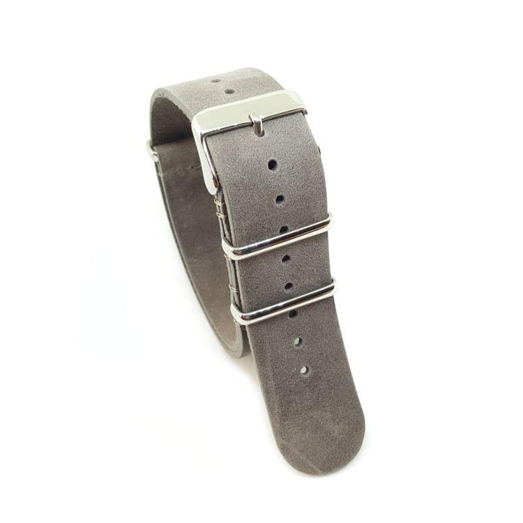 Distressed Grey - Vintage Leather NATO Strap