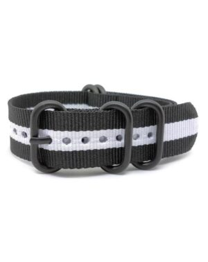 Black White- Zulu Watch Strap Black Buckle