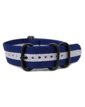 Blue White- Zulu Watch Strap Black Buckle