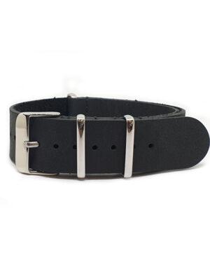 Distressed Black – Vintage Leather NATO Strap