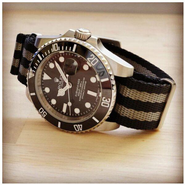 rolex submariner on premium bond black grey nato strap
