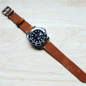 Rolex Submariner on Urban Gent Distressed Leather Tan Vintage Watch Strap