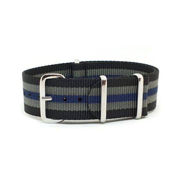 Striped Black, Grey & Blue NATO Watch Strap