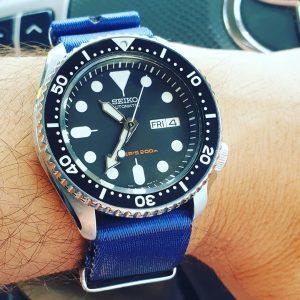 Seiko SKX007 on Urban Di Lusso Premium Nato Strap Royal Blue.