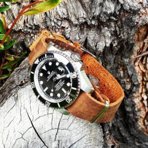 Rolex Submariner on The Urban Gentleman Distressed Brown Leather NATO Strap