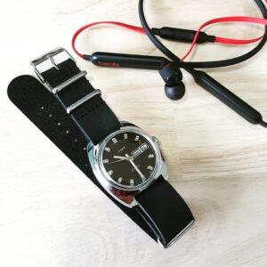 Vintage Timex on The Urban Gentleman Black Distressed Leather NATO Strap