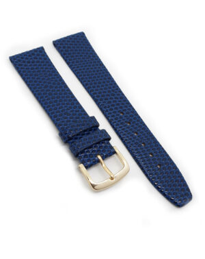 Blue Leather Lizard Grain Watch Strap - Gold Buckle