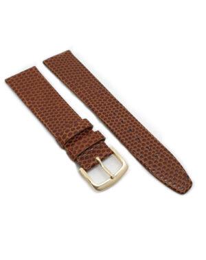 Caramel Leather Lizard Grain Watch Strap - Gold Buckle