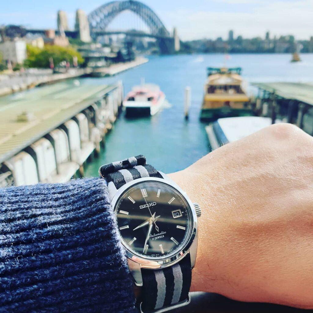 SEIKO SARB033 on Urban Di Lusso Black & Grey NATO Strap Sydney Australia