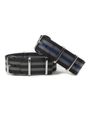 Urban Striped Black, Grey & Blue NATO Strap Bundle