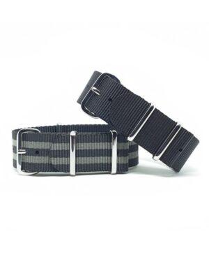 Urban Striped Black, Grey NATO Strap Bundle