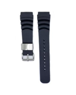 22mm SEIKO Silicone Rubber Watch Band Black
