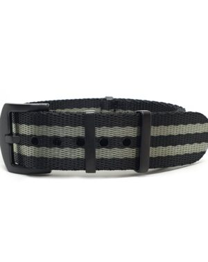 Premium Black Series Grey & Black Seatbelt NATO Strap