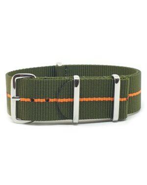 Urban Khaki Green with Orange Stripe NATO Strap